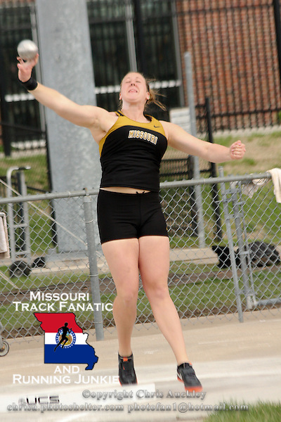 Mizzou redshirt freshman and former Jackson High School star Jill Rushin launches the shot in the women's shot put at the 2012 Missouri Relays. Rushin placed 2nd to teammate Kearsten Peoples, with a mark of 49-10.