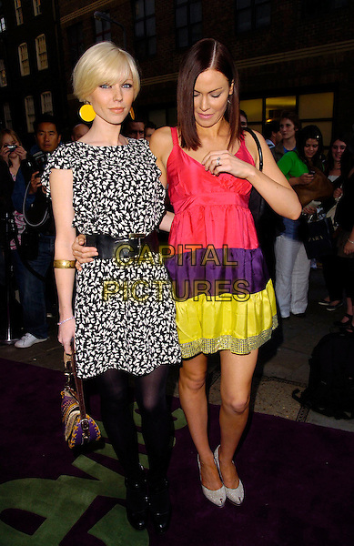 CHARLOTTE DUTTON & LINZI STOPPARD.The Evite Night at the Theatre, Cambridge Theatre, London, England..May 31st, 2007.full length black white pattern dress belt pink purple yellow striped stripes dress looking down earrings.CAP/CAN.©Can Nguyen/Capital Pictures