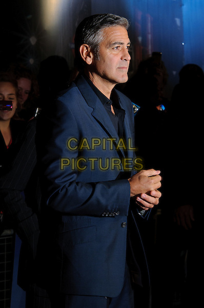 George Clooney.'The Ides Of March' UK premiere, London Film Festival, Odeon Leicester Square cinema, Leicester Square, London, England..19th October 2011.LFF half length blue black suit shirt side profile .CAP/CJ.©Chris Joseph/Capital Pictures.