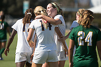 BERKELEY, CA - Sept 16th, 2016: Cal's Maggie Bell (14, back to camera) celebrates scoring a goal with (4) Alexa Vandevanter.  Cal Women's Soccer played the University of San Francisco on Goldman Field at Edwards Stadium.