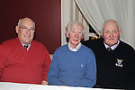 Nicholas McQuillan, Paddy Callan and Liam Farrell pictured at Refelections on Reaghstown and Westerns GFC 1951-2011 book launch in Dooley's restaurant Edmondstown. Photo: Colin Bell/pressphotos.ie