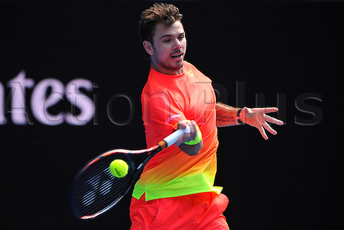 25.01.2016. Melbourne Park, Melbourne, Australia. Australian Open Tennis Championships. Start of week 2 of tournament.  Stan Wawrinka (SUI) loses to Raonic in 5 sets