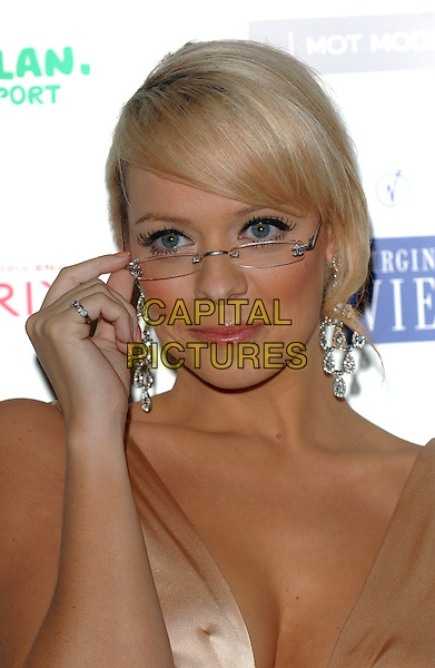 LIZ McCLARNON.The Specsavers Spectacle Wearer Of The Year 2006 - Grand Final at The Waldorf Hilton Hotel, Aldwych, London, UK..October 4th, 2006.Ref: BEL.headshot portrait hand McLarnon glasses.www.capitalpictures.com.sales@capitalpictures.com.©Tom Belcher/Capital Pictures.