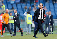 Calcio, Serie A: Lazio vs Roma. Roma, stadio Olimpico, 25 maggio 2015.<br /> Roma's coach Rudi Garcia celebrates at the end of the Italian Serie A football match between Lazio and Roma at Rome's Olympic stadium, 25 May 2015. Roma won 2-1.<br /> UPDATE IMAGES PRESS/Riccardo De Luca