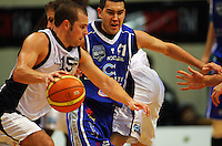 Luke Martin marks Michael Fitchett during the NBL Semifinal basketball match between the Wellington Saints and Nelson Giants at TSB Bank Arena, Wellington, New Zealand on Thursday, 12 June 2008. Photo: Dave Lintott / lintottphoto.co.nz