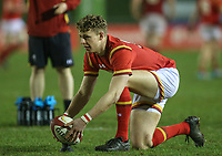 Wales U20's Phil Jones places the ball for a kick<br /> <br /> Photographer Alex Dodd/CameraSport<br /> <br /> RBS Six Nations U20 Championship Round 4 - Wales U20s v Ireland U20s - Saturday 11th March 2017 - Parc Eirias, Colwyn Bay, North Wales<br /> <br /> World Copyright &copy; 2017 CameraSport. All rights reserved. 43 Linden Ave. Countesthorpe. Leicester. England. LE8 5PG - Tel: +44 (0) 116 277 4147 - admin@camerasport.com - www.camerasport.com