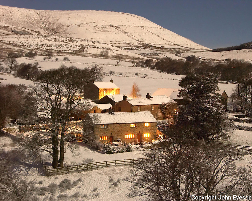 Dinkling Green Farm, Whitewell, Lancashire in the snow on Christmas night.