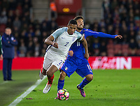 Isaac Hayden (Newcastle United) of England battles Federico Di Francesco (Bologna) of Italy during the Under 21 International Friendly match between England and Italy at St Mary's Stadium, Southampton, England on 10 November 2016. Photo by Andy Rowland.