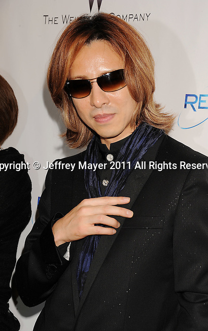 BEVERLY HILLS, CA - January 16: Yoshiki Hayashi arrives at The Weinstein Company and Relativity Media's 2011 Golden Globe After Party presented by Marie Claire held at BAR 210 - The Beverly Hilton Hotel on January 16, 2011 in Beverly Hills, California.