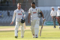 Adam Wheater and Ravi Bopara of Essex leave the field after clinching victory during Lancashire CCC vs Essex CCC, Specsavers County Championship Division 1 Cricket at Emirates Old Trafford on 11th June 2018