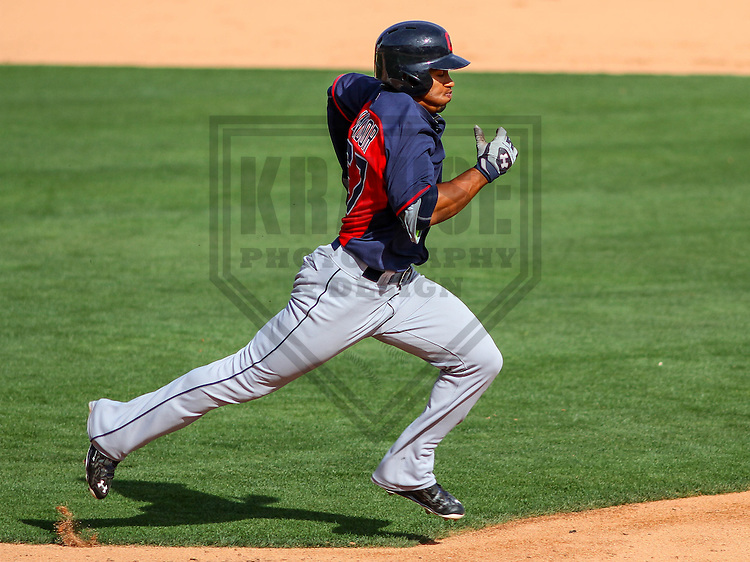 GLENDALE - March 2015: Francisco Lindor (67) of the Cleveland Indians during a spring training game against the Los Angeles Dodgers on March 17th, 2015 at Camelback Ranch in Glendale, Arizona. (Photo Credit: Brad Krause)