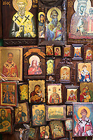 Greek Orthodox religious art icons in souvenirs and gifts shop in Kerkyra, Corfu Town, Greece