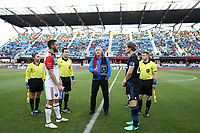 San Jose, CA - Saturday May 19, 2018: Coin toos, Florian Jungwirth during a Major League Soccer (MLS) match between the San Jose Earthquakes and D.C. United at Avaya Stadium.