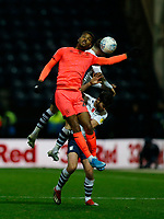 9th November 2019; Deepdale Stadium, Preston, Lancashire, England; Championship Football, Preston North End versus Huddersfield Town; Trevoh Chalobah of Hudderfield Town beats Alan Browne of Preston North End in an aerial duel - Strictly Editorial Use Only. No use with unauthorized audio, video, data, fixture lists, club/league logos or 'live' services. Online in-match use limited to 120 images, no video emulation. No use in betting, games or single club/league/player publications