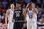 GREENVILLE, SC - MARCH 19: Matt Jones (13) of Duke University reacts after fouling out against the University of South Carolina during the 2017 NCAA Men's Basketball Tournament held at Bon Secours Wellness Arena on March 19, 2017 in Greenville, South Carolina. (Photo by Grant Halverson/NCAA Photos via Getty Images)