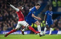 Andreas Christensen of Chelsea & Alexandre Lacazette of Arsenal during the Carabao Cup semi final 1st leg match between Chelsea and Arsenal at Stamford Bridge, London, England on 10 January 2018. Photo by Andy Rowland.