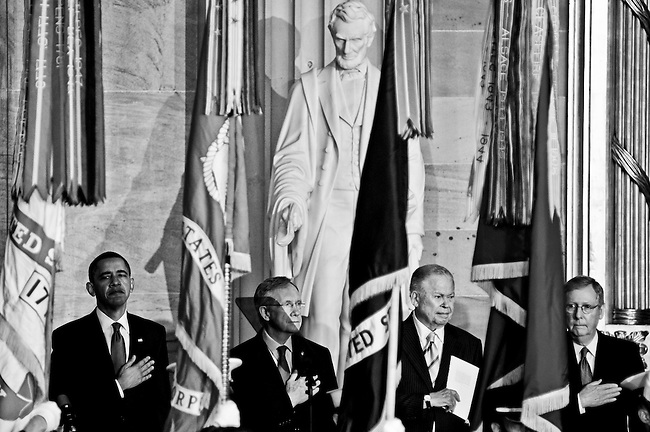 From left, President Barack Obama, Senate Majority Leader Harry Reid, former Sen. Edward Brooke, and Senate Minority Leader Mitch McConnell stand for the presentation of the colors during the Congressional Gold Medal ceremony for former Sen. Brooke in the Capitol Rotunda on Oct. 28, 2009. Senator Brooke was the first African American to be elected by popular vote to the United States Senate, where he represented Massachusetts.