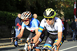 Brodie Chapman (AUS) and Sara Poidevin (CAN) on the 2nd circuit of Harrogate during the Women Elite Road Race of the UCI World Championships 2019 running 149.4km from Bradford to Harrogate, England. 28th September 2019.<br /> Picture: Andy Brady | Cyclefile<br /> <br /> All photos usage must carry mandatory copyright credit (© Cyclefile | Andy Brady)