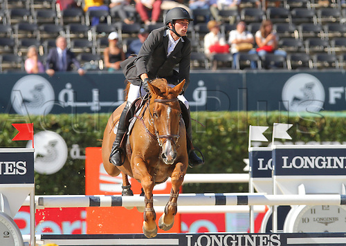 25.09.2015. CSIO, Barcelona, Spain.   Alejandro Vilches Gonzalez (ESP) ridding Nanou de la Baie during EL Peridodico Trophy at Real Club de Polo de Barcelona