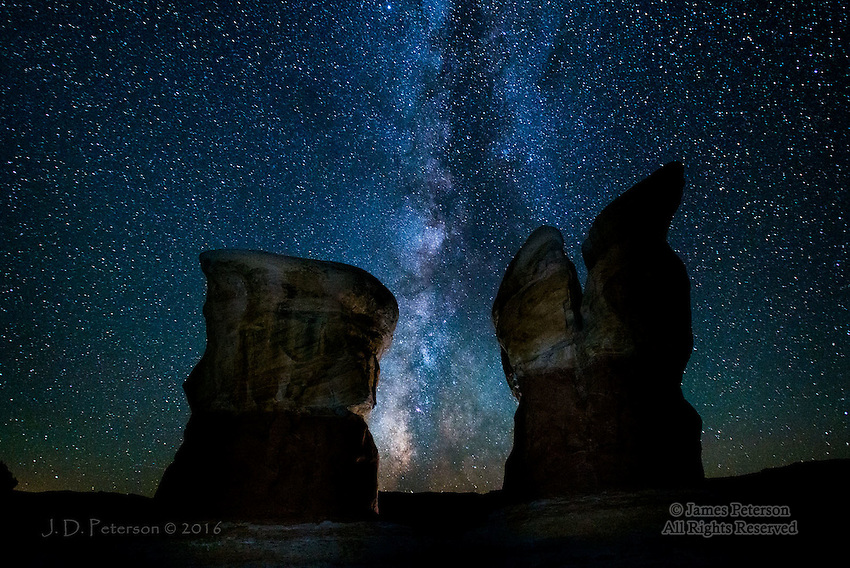 Nighttime in Devil's Garden, Utah ©2016 James D Peterson.  This remarkable area is in the Grand Staircase-Escalante National Monument in southren Utah.  We used just a bit of light painting to bring out some surface detail, keeping the hoodoos from being completely silhouetted.