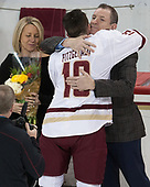 Kerry Fitzgerald, Ryan Fitzgerald (BC - 19), Tom Fitzgerald - The visiting University of Vermont Catamounts tied the Boston College Eagles 2-2 on Saturday, February 18, 2017, Boston College's senior night at Kelley Rink in Conte Forum in Chestnut Hill, Massachusetts.Vermont and BC tied 2-2 on Saturday, February 18, 2017, Boston College's senior night at Kelley Rink in Conte Forum in Chestnut Hill, Massachusetts.