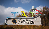 9th November 2016; PyeongChang, South Korea; Sign to the Alpensia Sportpark, venue of the Olympic cross-country skiing, biathlon and ski jumping competitions in the Pyoengchang region, South Korea, 10 November 2016. The Olympic Winter Games will be held from 9 until 25 February 2018
