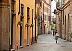 Street in downtown Como, Italy a town on Lake Como