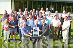 Tim Moynihan is presented pictures of Ross Castle, which he helped restore, by Terry Murphy (District Works manager) and Grellan Rourke (Senior Conservation Arcitect) on his final day at work at the National Monuments section of the the Office of Public Works, Killarney on Thursday    Copyright Kerry's Eye 2008