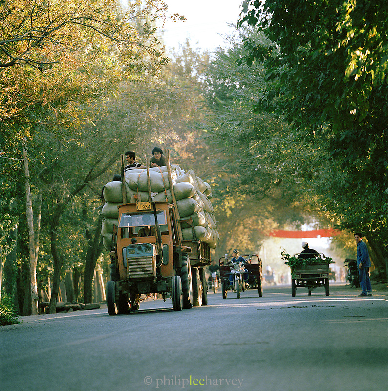 Tractor loaded with sacks, Silk Route, Gaochang, Xinjiang Province, China.