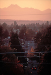 Seattle, Ballard, single family homes, neighborhoods, Olympic Mountains in the distance, sunset