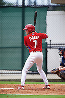 GCL Phillies shortstop Cole Stobbe (7) at bat during a game against the GCL Braves on August 3, 2016 at the Carpenter Complex in Clearwater, Florida.  GCL Phillies defeated GCL Braves 4-3 in a rain shortened six inning game.  (Mike Janes/Four Seam Images)