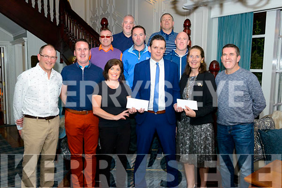 Legion GAA Golf Classic fund raiser prize giving in the Avenue Hotel, Killarney last Friday night. Pictured are front l-r Sean Murphy (golf coordinator), Enda Walsh (chairman of Legion GAA), Mary Cronin (1st prize winner), Neill O'Donoghue (prize sponsor), Betty O'Farrell (1st prize winner), and David Randles (Club sponsor), mid l-r Joe Collins (2nd prize winner), Dermot O'Dullivan (2nd prize winner) and Shane Kelly (3rd prize winner), back l-r Brian Moriarty (committee) and Paid O'Donoghue (4th prize winner).
