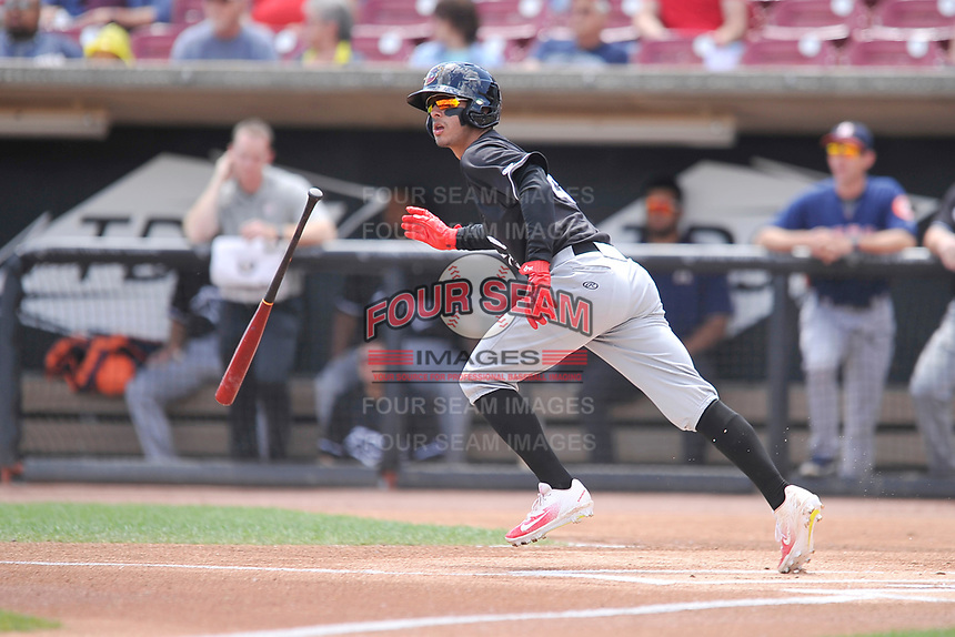 Quad Cities River Bandits shortstop Jonathan Arauz (22) heads toward first base during a game against the Wisconsin Timber Rattlers at Fox Cities Stadium on June 27, 2017 in Appleton, Wisconsin.  Wisconsin lost 6-5.  (Dennis Hubbard/Four Seam Images)