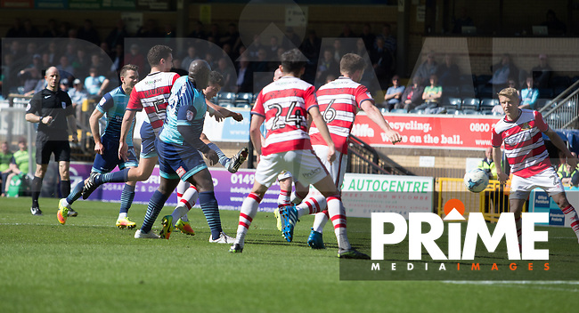 Luke O'Nien of Wycombe Wanderers scores his second goal during the Sky Bet League 2 match between Wycombe Wanderers and Doncaster Rovers at Adams Park, High Wycombe, England on 22 April 2017. Photo by James Williamson / PRiME Media Images.