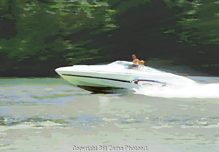 Speedboat on the Monongahela River in Pittsburgh Pennsylvania