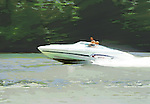 Speedboat on the Monongahela River in Pittsburgh Pennsylvania