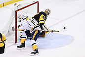8th June 2017, Pittsburgh, PA, USA; Pittsburgh Penguins goalie Matt Murray (30) makes a save on Nashville Predators center Craig Smith (15) in front during the third period. Game Five was won 6-0 by the Pittsburgh Penguins against the Nashville Predators during the 2017 NHL Stanley Cup Final on June 8, 2017, at PPG Paints Arena in Pittsburgh, PA. The Penguins take a 3-2 series lead in the best of seven series with the victory.