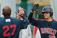 16 October 2010: Oscar Combes of Rouen celebrates with Joris Bert during Rouen 16-4 win over Savigny, during game 1 of the French championship finals, in Savigny sur Orge, France.