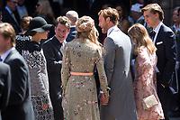 Mariage du Prince Ernst junior de Hanovre et de Ekaterina Malysheva &agrave; l'&eacute;glise Markkirche &agrave; Hanovre.<br /> Allemagne, Hanovre, 8 juillet 2017.<br /> Wedding of Prince Ernst Junior of Hanover and Ekaterina Malysheva at the Markkirche church in Hanover.<br /> Germany, Hanover, 8 july 2017<br /> Pic :  Prince Pierre Casiraghi &amp; wife Beatrice Borromeo &amp; Princess Charlotte Casiraghi, Alexandra of Hanover &amp; boyfriend Ben Silvester Strautmann