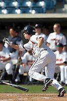 Zach Vincej (3) of the Pepperdine Waves bats against the Oklahoma Sooners at Eddy D. Field Stadium on February 18, 2012 in Malibu,California. Pepperdine defeated Oklahoma 10-0.(Larry Goren/Four Seam Images)