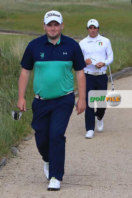 Caolan Rafferty (Dundalk) walking to the 15th tee during Round 1 of the The Amateur Championship 2019 at The Island Golf Club, Co. Dublin on Monday 17th June 2019.<br /> Picture:  Thos Caffrey / Golffile<br /> <br /> All photo usage must carry mandatory copyright credit (© Golffile | Thos Caffrey)