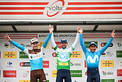 25th March 2018, Barcelona, Spain; Volta a Catalunya 2018 Cycling, Stage 7; 01 VALVERDE, Alejandro (ESP) of MOVISTAR TEAM 02 QUINTANA, Nairo (COL) of MOVISTAR TEAM and 82 LATOUR, Pierre R (FRA) of AG2R LA MONDIALE