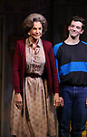 "Mercedes Ruehl and Michael Urie during the Broadway Opening Night Curtain Call for ""Torch Song"" at the Hayes Theater on November 1, 2018 in New York City."