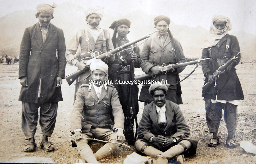 BNPS.co.uk (01202 558833)<br /> Pic: LaceyScott&Knight/BNPS<br /> <br /> Pashtun warriors.<br /> <br /> From the far reaches of the British Empire - Remarkable previously unseen photos of a forgotten military campaign has come to light 100 years later.<br /> <br /> The little known Waziristan campaign of 1919 and 1920 saw the British and Indian forces engaged in fierce fighting against Afghan tribesman who invaded northern India.<br /> <br /> However, the conflict, which saw the use of the might of the RAF in targeted bombing raids, has become almost lost to history since it took place just after the Great War.<br /> <br /> The battleground was the rugged, remote, mountainous region which is modern day northern Pakistan, on the southern border of Afghanistan.