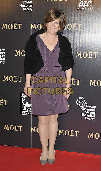 Emma B (Emma Boughton).attended the Barclays ATP World Tour Finals official launch party, Battersea Power Station, Cringle St., London, England, UK, 17th November 2011..full length purple dress  black jacket  ruffle .CAP/CAN.©Can Nguyen/Capital Pictures.