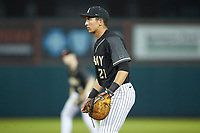 Army Black Knights first baseman John McKenna (21) on defense against the Auburn Tigers at Doak Field at Dail Park on June 2, 2018 in Raleigh, North Carolina. The Tigers defeated the Black Knights 12-1. (Brian Westerholt/Four Seam Images)