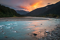 Sunset in Whataroa Valley with Whataroa River, West Coast, South Westland, South Island, New Zealand, NZ