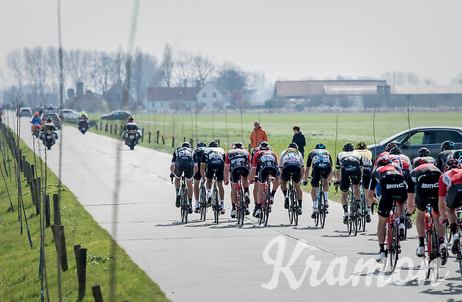 Team Trek-Segafredo trying to form echelons in the infamous (windy) Moeren<br /> <br /> 79th Gent-Wevelgem 2017 (1.UWT)<br /> 1day race: Deinze &rsaquo; Wevelgem - BEL (249km)