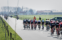 Team Trek-Segafredo trying to form echelons in the infamous (windy) Moeren<br /> <br /> 79th Gent-Wevelgem 2017 (1.UWT)<br /> 1day race: Deinze › Wevelgem - BEL (249km)