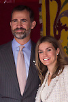 10.10.2012. Princess Letizia of Spain attends ´Cruz Roja´ (Red Cross) Fundraising Day in the Ministry of Foreign Affairs and Cooperation, Madrid, Spain. In the image Princess Letizia and Prince Felipe of Spain (Alterphotos/Marta Gonzalez)